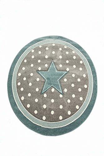 Kinderteppich Kinderzimmerteppich Babyteppich rund Stern in Türkis Grau Weiss Größe 80 cm Rund