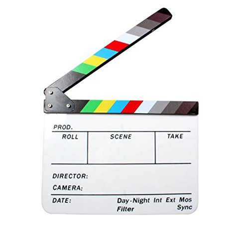 "Andoer Acrylic Clapboard Dry Erase Director Film Movie Clapper Board Slate 9.6 11.7"" with Color Sticks"