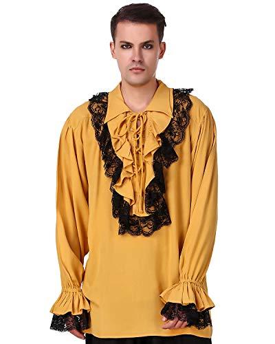 ThePirateDressing Medieval Renaissance Poet Cosplay Costume Roberto Cofresi Pirate Shirt [Gold] (XL) C1003