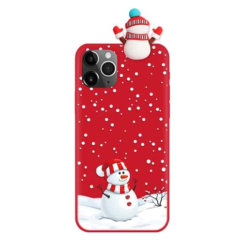 Eouine Capa de Natal para Huawei P20 Pro [6,1 polegadas] Capa de telefone de silicone vermelha de Natal com boneco de neve 3D e estampa, antiarranhões à prova de choque macia para Huawei P20 Pro