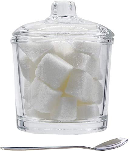 Chase Chic Glaszuckerdose, Klare Zuckerdose mit klarem Glasdeckel und Edelstahllöffel für Kaffeebar, Restaurant, Küche und Frühstück zu Hause, 210 ml (7.1oz)