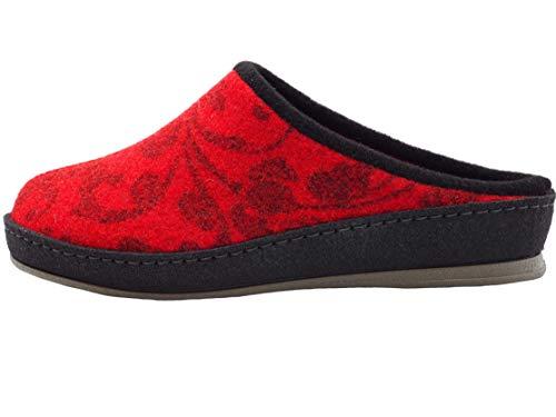 Schawos Filz Hausschuh für Damen, Modell Merle, Made in Germany, mit anatomisch geformtem Fußbett und aktiver Fersendämpfung, Farbe: Rot (Numeric_40)