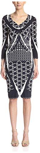 BASLER Women's 3/4 Sleeve Sheath Dress, Navy Pattern, 8/38 EU