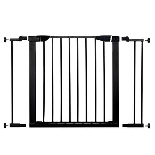 SPRINGOSⓇ Schutzgitter Sicherheitsbarriere|Baby Türschutzgitter|Treppenschutzgitter|Schutzgitter 75-82 cm mit Verlängerung 7 und 14 cm|sicher und stabil (Schwarz, 97-103 cm)