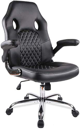 Office Chair Desk Leather Gaming Chair High Back Ergonomic Adjustable Racing ChairTask Swivel Executive Computer Chair Black