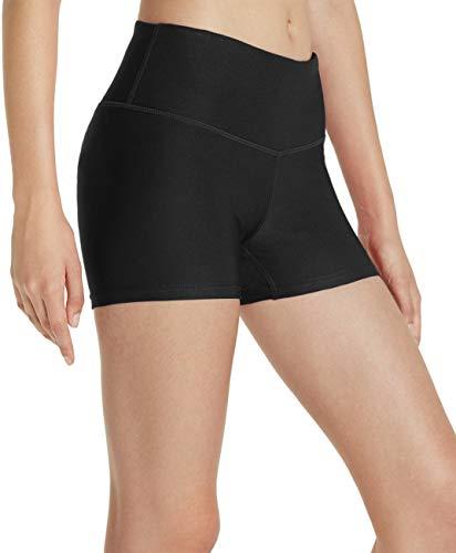 TSLA Damen Yoga Shorts mit mittlerer/hoher Taille und versteckter Tasche, Workout/Laufshorts und undurchsichtige Shorts mit athletischem Stretch, Fys01 3inch - Black, XL
