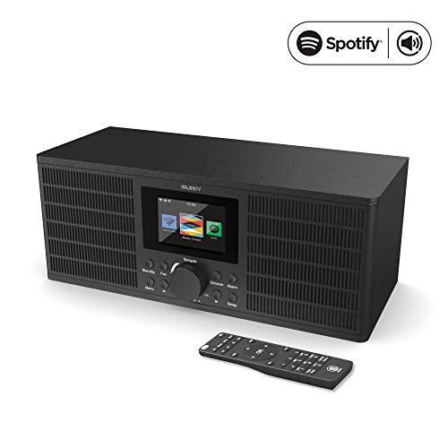 Majority Peterhouse Graduate Internetradio WiFi/WLAN mit Bluetooth, Spotify Connect Streaming, Fernbedienung, USB-Aufladung und -Eingang, AUX-Eingang, Dual-Wecker, Farbdisplay (Schwarz)