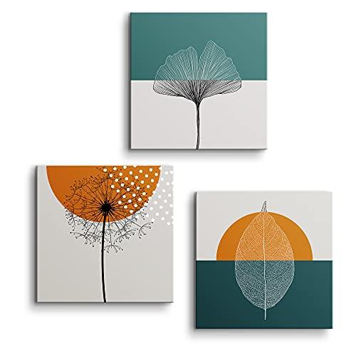 Set de 3 Cuadros de 50 x 50 cm, Cuadro en Lienzo, Decoración Moderna para Salón y Dormitorio, Esencia Vital, LEN-150