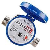 Ohomr Débitmètre d'eau Froide avec raccords, 15mm 1/2 Pouces Rotation Compteur pour la Maison Utilisation Jardin Jardin Accessoires