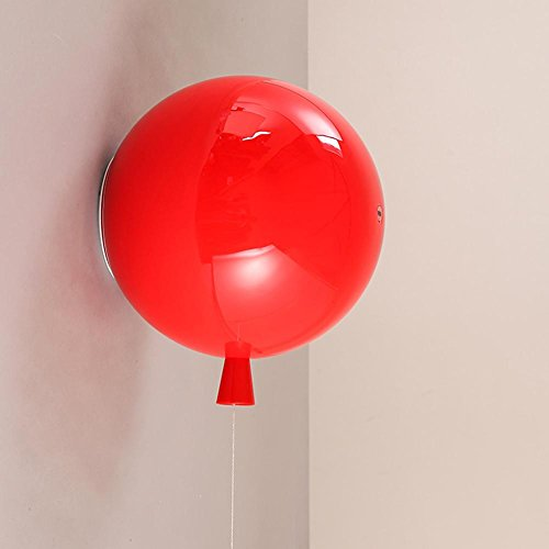 Modern Farbe Ballon Wandleuchten Vintage wandlampen Transluzent Acryl Lampenschirm Innenbeleuchtung Kinderzimmer Schlafzimmer Nachttischlampe Dekoration Ø20cm 1XE27 40W, Wandleuchten-Rot