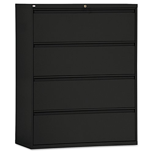 Alera ALE Four-Drawer Lateral File Cabinet, 42w x 19-1/4d x 53-1/4h, Black