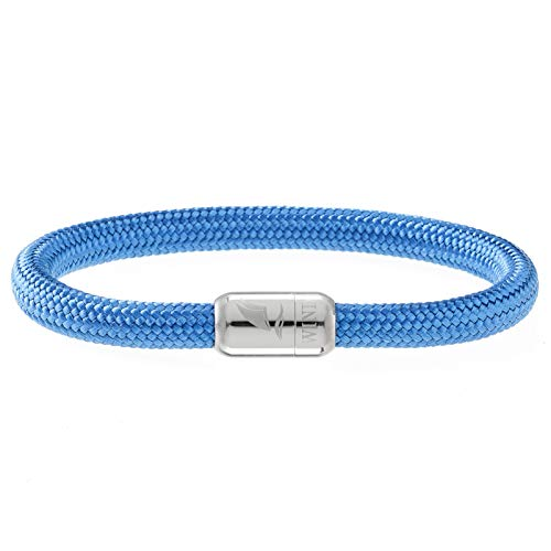Wind Passion Pulsera Azul Náutica Brazalete Cuerda Trenzada Magnética para Hombre y Mujer, Tall Large