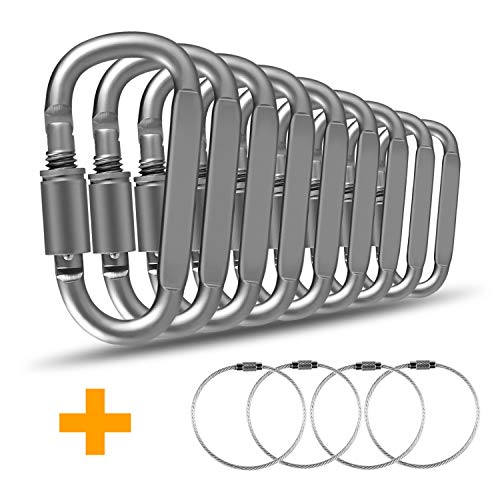 Patomos Llavero, 9 Unidades de mosquetón de Aluminio Resistente para Colgar Equipaje, llaveros y Etiqueta de identificación para Mantener Clips de Coche y Negocios Llavero (Gris)