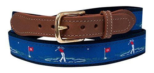 Golf Belt, Embroidered Golfer on Navy Web 30 (Pant Waist...