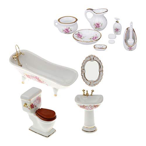 T TOOYFUL 1/12 Puppenhaus Badmöbel Handgefertigte Miniatur Porzellan Badewanne Set