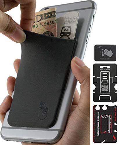 Stick on Credit Card Holder for Cell Phone by Gecko - Card Holder for Cell - Phone Wallet iPhone x - Cellphone Accessory for Apple - Dark Gray