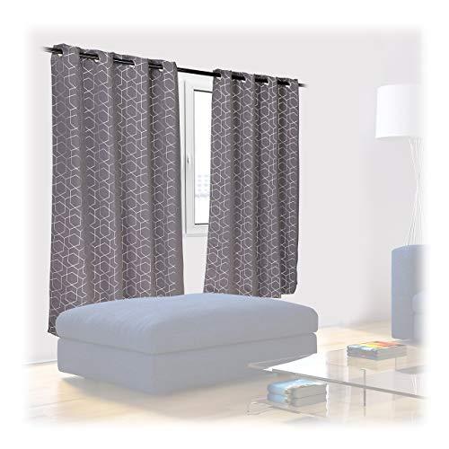 Relaxdays Vorhänge 2er Set, HxB 175x135cm, Blickdicht, lichtundurchlässig, Verdunkelungsvorhänge mit Muster, grau-Silber