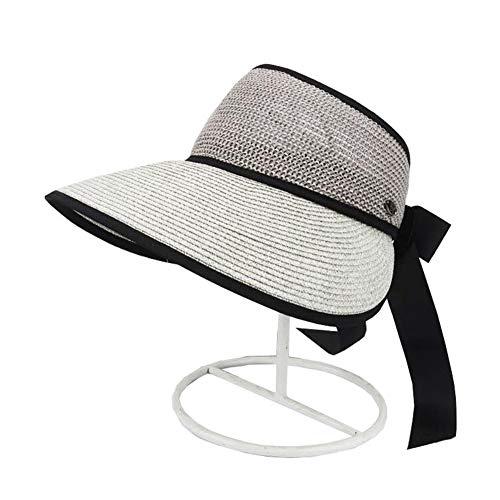 ZX-cappello Da Sole Cappello di Paglia Cappello A Cilindro Vuoto Cappello Femminile per Visiera Ampia Brim Regolabile (Colore : Gray, Dimensioni : One Size)