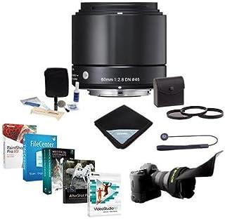 Sigma 60mm f / 2.8DNアートレンズfor Sony NEXシリーズカメラ、ブラック–e-mountバンドルwith 46mmフィルターキット( UV / CPL / nd2、Flexレンズシェード、レンズキャップ、リーシュクリーニングキット、レンズ、ラップProソフトウェアパッケージ