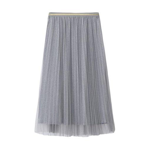 Yiiquanan Damen Elegant Maxi Rock Mode A-Linie Falten Röcke Sommer Hohe Taille Langer Tüllrock Plisseerock (Grau, One Size)