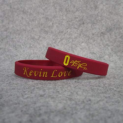 0 Cavaliers Basketball-Star Kevin Love Unterschrift leuchtende Hand Ring Silikon Sport Armband (Color : Red, Size : 19CM)