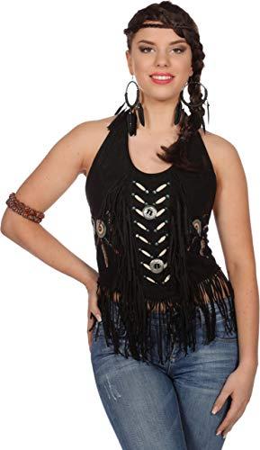 The Fantasy Tailors Indianer-Kostüm Damen Oberteil mit Fransen Necholder-Top Adler Falke Apache Karneval Fasching Hochwertige Verkleidung Einheitsgröße Schwarz