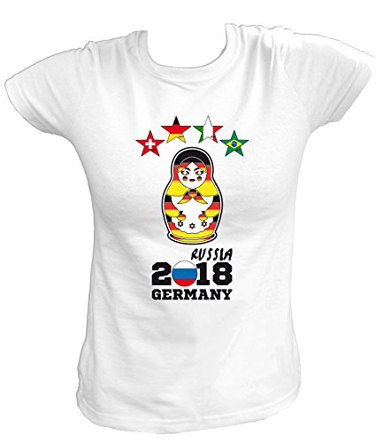 Artdiktat Damen T-Shirt | Matrjoschka 4 Sterne Deutschland Wm Weltmeister 2018 | Fan Trikot Russland Größe M, Weiß