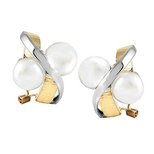 Orecchini in oro giallo e bianco 18 carati modello Sofia (4 perle coltivate 7,5 mm pulsante bianco.)