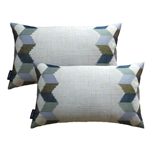Pack 2 Decorative Pillowcase Linen Embroidered Throw Pillow Cover 12X20