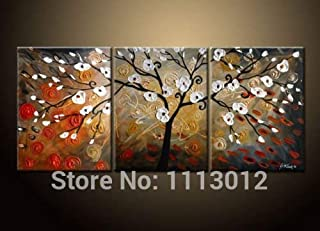DIU Hand Painted Canvas Tree Oil Paintings Modern Abstract 3 Panel Red Flower Art Set Home Wall Decoration Picture For Liv...