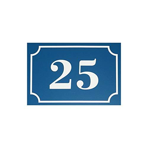 Numéro de maison/rue gravé et personnalisé couleur bleu chiffres blancs - Signalétique extérieure - Plastique - 8