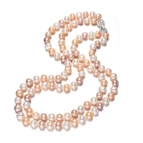TreasureBay Two Row Multi colours 9-10mm Pearl Necklace