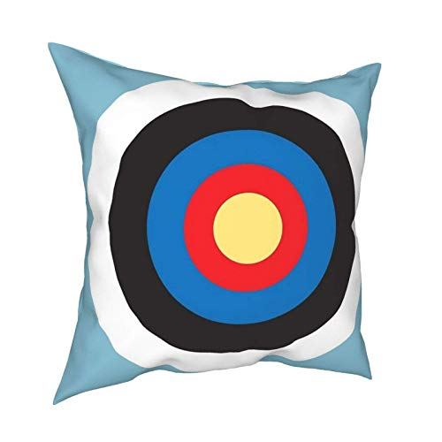 Throw Pillow Cover Cushion Covers Pillowcase Bulls Eye Right On Target Roundel Archery Mod Hit On Blue Home Decor for Sofa Couch Bed Chair 18x18 Inch/45x45 cm