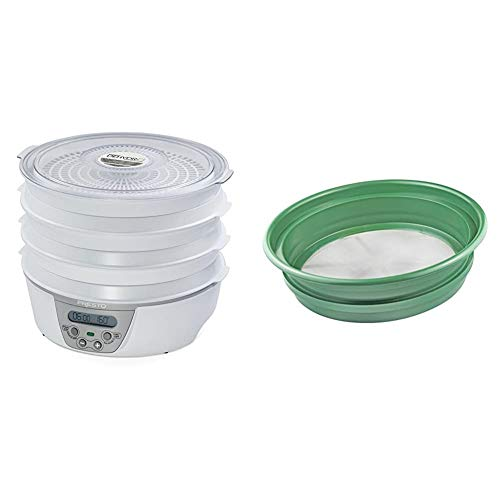 """Presto 06301 Dehydro Digital Electric Food Dehydrator & SE Patented Stackable 13-¼"""" Sifting Pan, Mesh Size 1/100"""" - GP2-1100"""