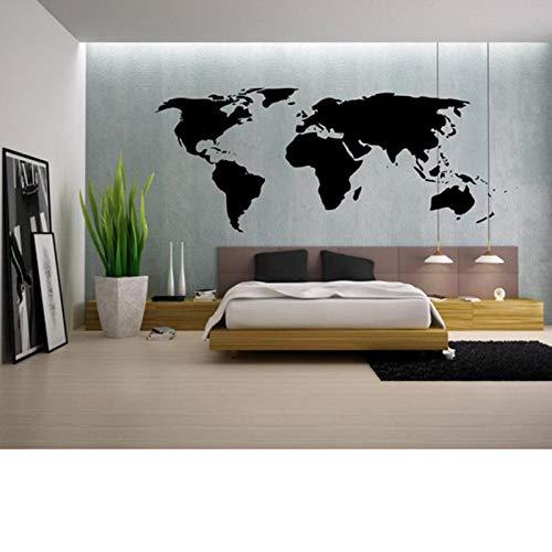 Yaonuli Contour wereldkaart, zelfklevend, voor huis, slaapkamer, woonkamer, decoratie, afneembaar