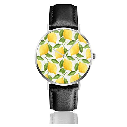 Reloj de limones acuarela movimiento de cuarzo correa de reloj de cuero impermeable para hombres mujeres reloj informal de negocios sim