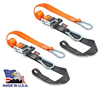 PowerTye 1.5in x 6.5ft Heavy Duty Ratchet Straps Made in USA with Soft-Tye and Carabiner Hooks Orange/Black  pair