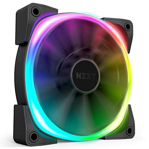 NZXT HF-28120-B1 AER RGB 2 - 120mm - Advanced Lighting Customizations - Winglet Tips - Fluid Dynamic Bearing - LED RGB PWM Fan for Hue 2 - Single (HUE2 Lighting Controller Not Included),Black