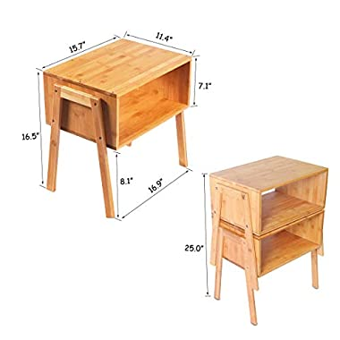 LASUAVY Bamboo Nightstand Stackable Side Table End Table Bedside Table, Set of 2 (16.9212.8)