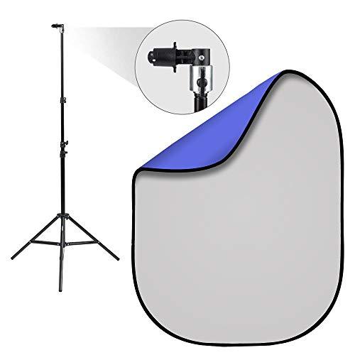 Fovitec 1,5 m x 2 m Fotografía portátil Pop Up Studio Kit de fondo y soporte (gris/azul)