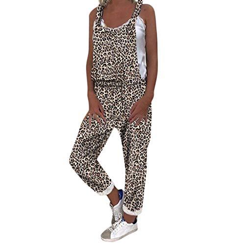 Damen Jumpsuit Sommer Lang Latzhose Damen Leopard Kleid Shorts Elegant Overall Leinen Strap Belt Bib Hosen Casual Hosenanzug