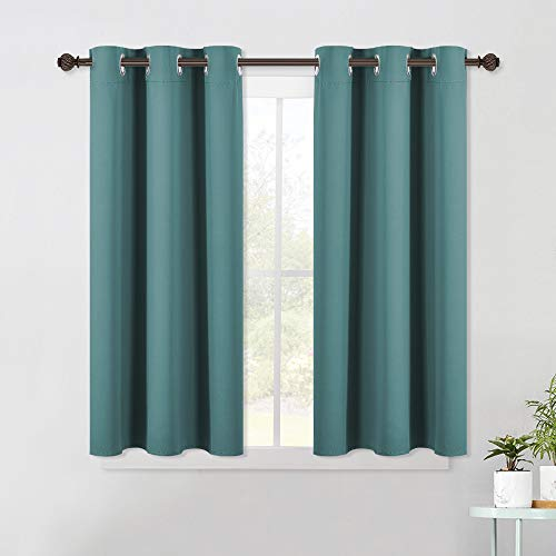 NICETOWN Bedroom Curtain Panels Blackout Draperies, Thermal Insulated Solid Grommet Blackout Curtains/Drapes (Sea Teal, One Pair, 42 by 45-Inch)