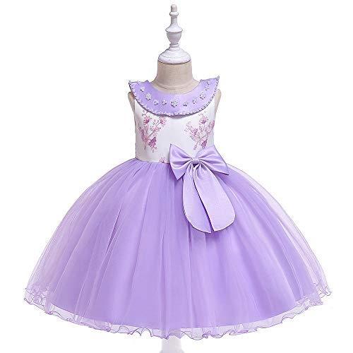WTFYSYN Vestido de Fiesta de cumpleaños Ropa para niñas,Vestido de Princesa de Boda para niñas sin Mangas, Flores Rasgada Falda T-Performance Vestido-Lavanda_120 cm