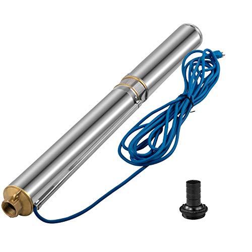VEVOR Pompa Sommersa per Pozzo Profondo 1HP 220V, Elettropompa Pompa Sommersa per Pozzi Flusso 13,2GPM con Cavo da 20M, Pompa Acqua in Acciaio Inossidabile per Fornire Acqua Dolce a Case e Fattorie
