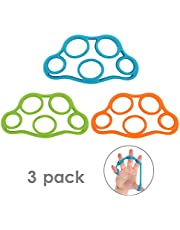 MoKo Finger Stretcher Resistance Bands, [3 Pack] Extensors Training Bands & Hand Grip Ring Muscle Power Training Rubber Ring Exerciser Gym Expander for Muscle Pain Relief and Therapy