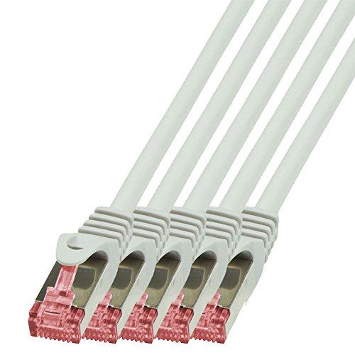 BIGtec - 5 Stück - 2m Netzwerkkabel Patchkabel Ethernet LAN DSL Patch Kabel Gigabit grau (2X RJ-45 Anschluß, CAT6, doppelt geschirmt) 2 Meter