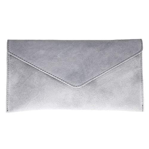 Viva London Echtes italienisches Verapelle-Wildleder, groß, Umschlag-Form, Handtasche, Clutch für Party, Abschlussball, Schwarz - grau - Größe: Large