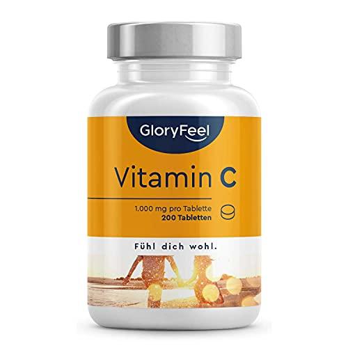 Vitamin C 1.000mg Hochdosiert - Unterstützt das Nerven- und Immunsystem ** - 200 vegane Tabletten (7 Monate) - Laborgeprüft und ohne Zusätze in Deutschland hergestellt