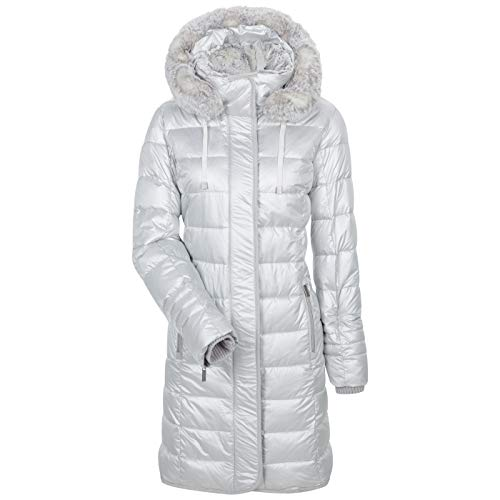 MILESTONE Damen Mantel Daunenmantel Steppmantel Winter-Mantel Rayna Kapuze mit Kunstfell Wärmeisoliert 3M Isolation Vegane Fake Daune Mikrofasergewebe (46, Weiß)