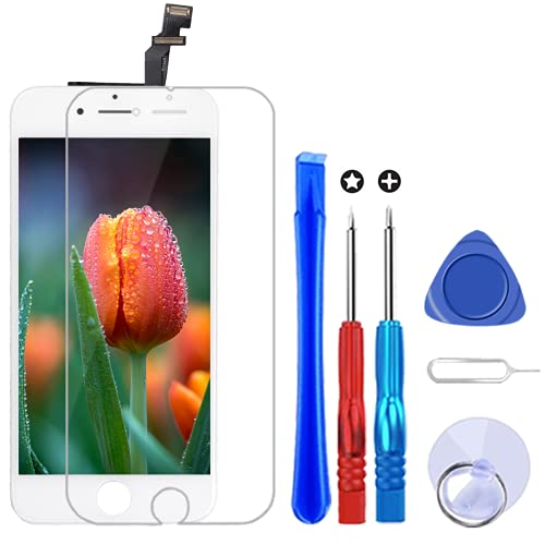 Brinonac Display per iPhone 6 Schermo Bianco 4,7 Pollici LCD Touch Screen Frame Vetro Schermo Kit Smontaggio Trasformazione Completo di Ricambio Utensili Inclusi